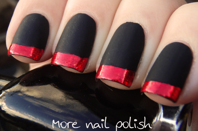 Matte Black with red foil tips, inspired by ModCloth dresses. ~ More ...