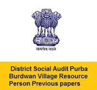 District Social Audit Purba Burdwan Village Resource Person Previous Papers PDF Download