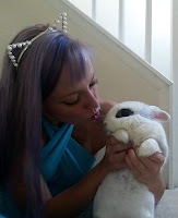 kitten girl kissing cute bunny on the nose love play