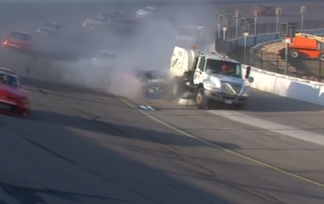 Dillon Bassett crashes into sweeper truck at Iowa Speedway Xfinity Series 7/27/2019