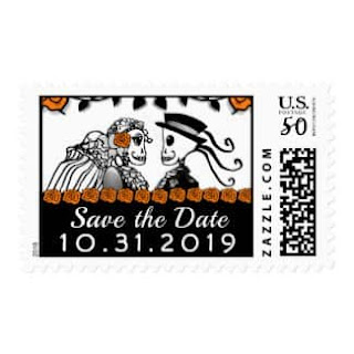 Skeletons Orange Roses Custom Save the Date Postage Stamp