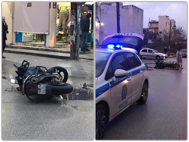 Σοβαρό τροχαίο ΙΧ με μηχανή - Στο Νοσοκομείο ο οδηγός της μοτοσυκλέτας