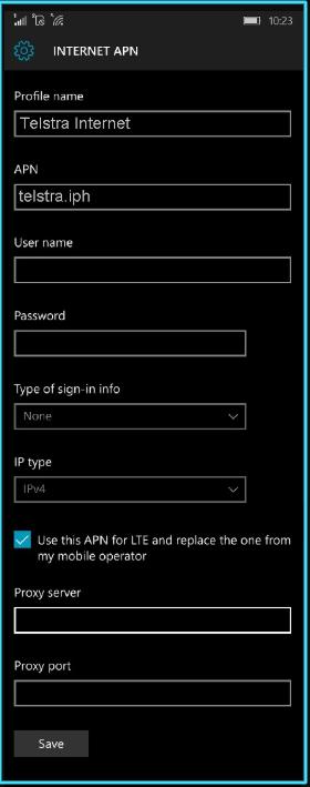 New Telstra apn settings windows phone