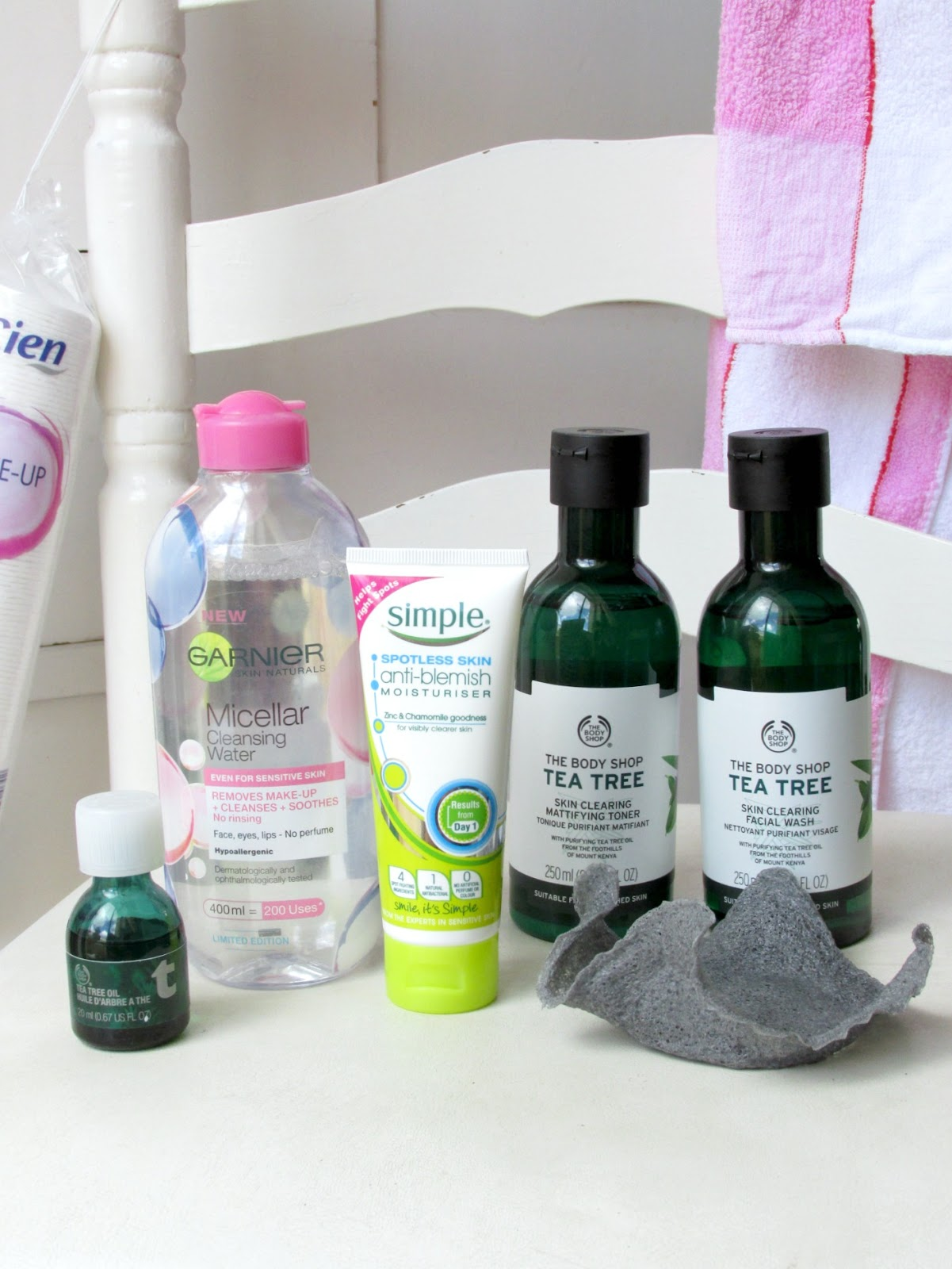 skin care routine for oily and blemished skin using products from The Body Shop, Simple, Garnier and The Konjac Sponge Co
