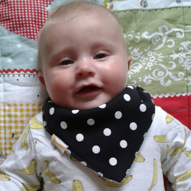 Funky Giraffe review and giveaway, polka dot bandana bib, banana sleepsuit