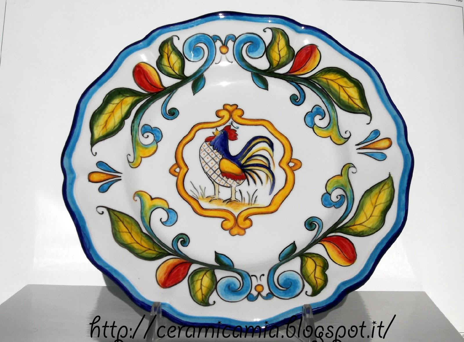 Ceramica che passione piatti da tavola con il gallo - Piatti da portata particolari ...