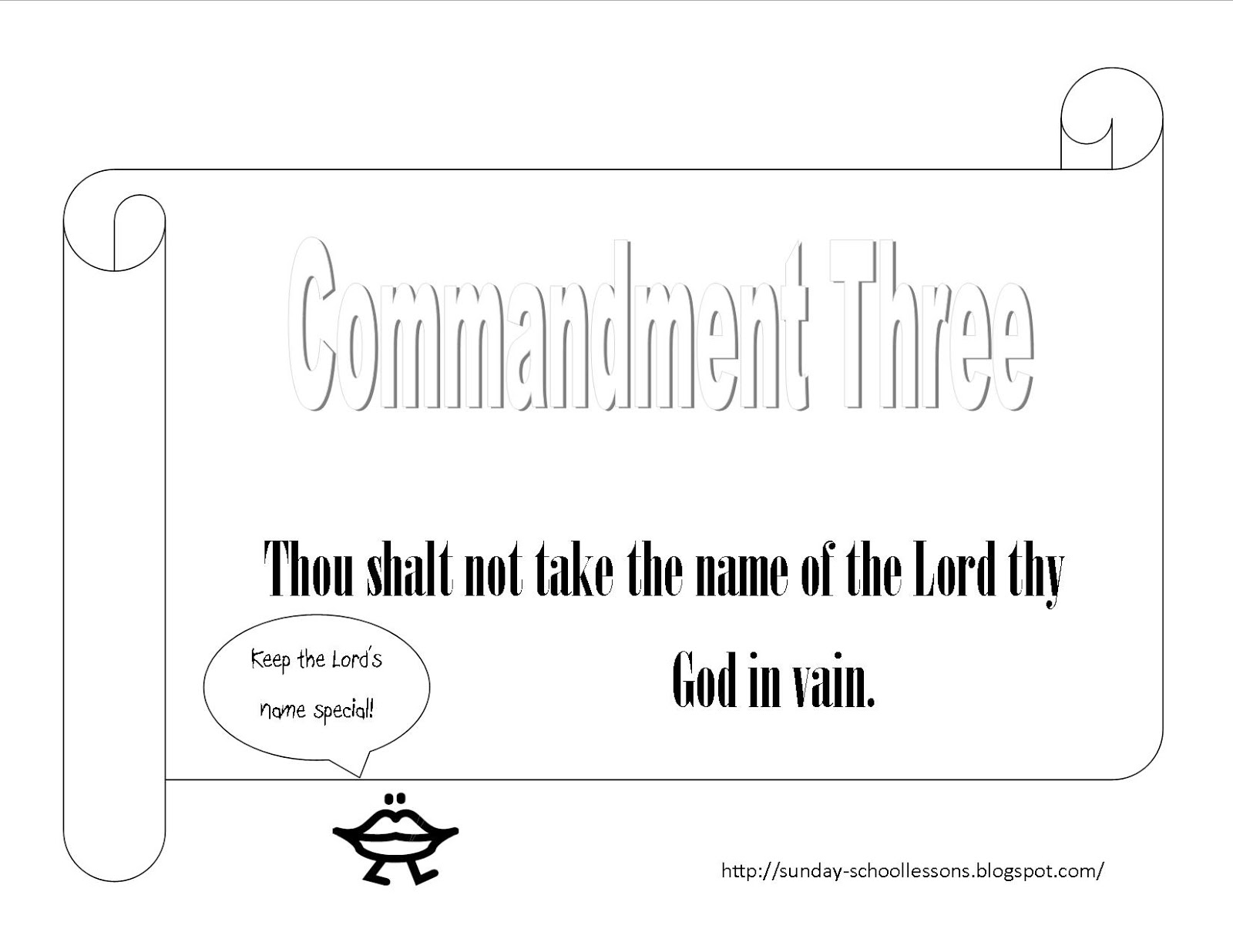 Sunday school lessons of plenty 10 commandments for 1st commandment coloring page