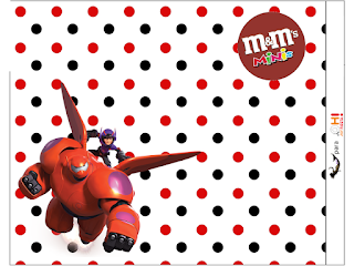 Etiquetas M&M de Big Hero 6 para imprimir gratis.