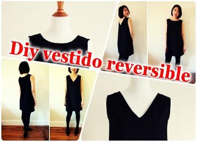 Vestido clásico reversible cuello redondo o de pico. Costura