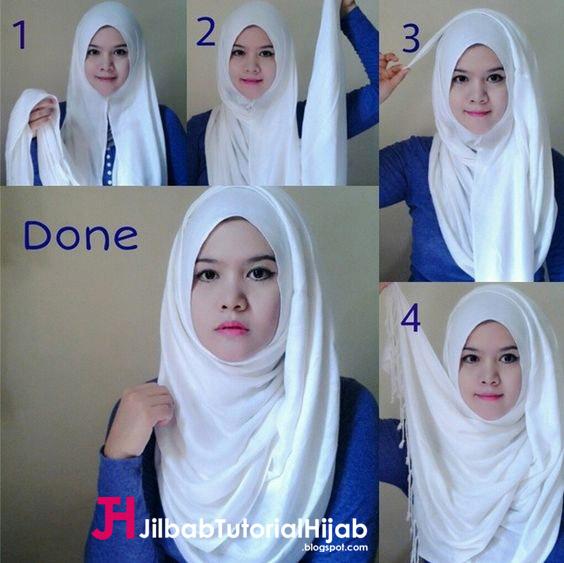 Kumpulan Gambar Tutorial Cara Memakai Hijab simple pipi tembem