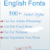 500+ English Fonts Latest style, Top Stylish English Fonts