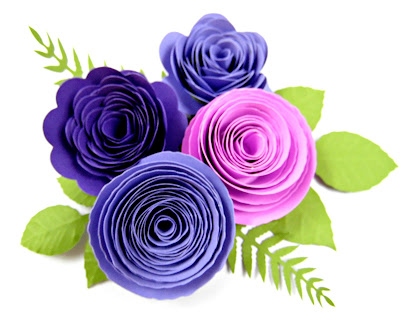 Rosette paper flowers with template.