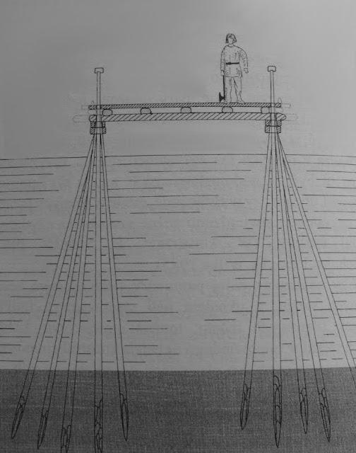 Rycina ilustrująca woja piastowskiego na moście łączącym wczesnośredniowieczny ośrodek grodowy na wyspie lednickiej z stałym lądem