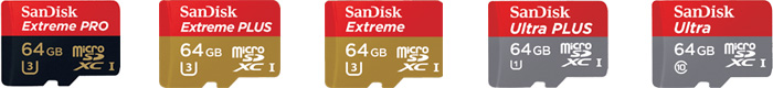 サンディスク microSDカードのラインナップ