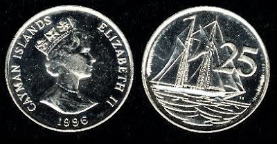 Cayman Islands 25 Cents (1992,1996) ni-clad steel