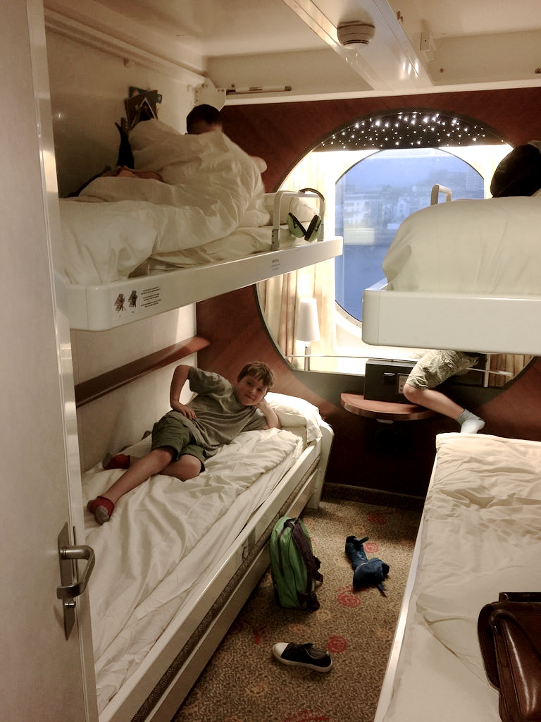 Inside the four berth cabin on board the Pont-Aven, Brittany Ferries