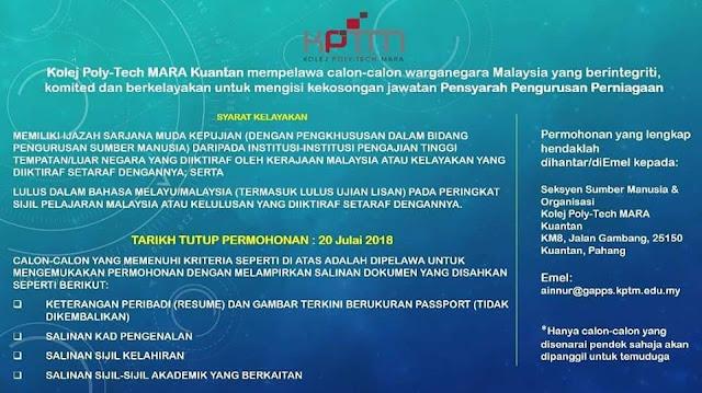 Jawatan Kosong Pensyarah di Institut Pendidikan MARA (IPMa)