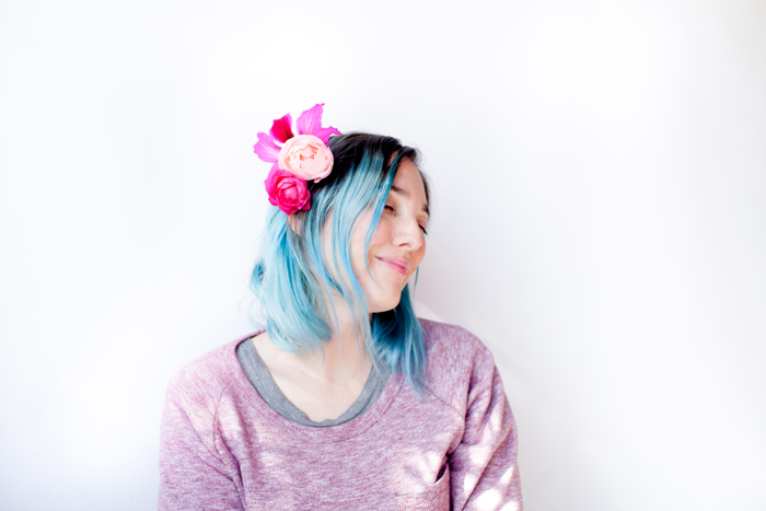 pastel blue hair and pink flowers