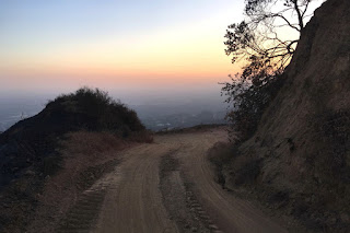 View west at dusk toward Monrovia from Van Tassel Fire Road above Duarte, June 30, 2016
