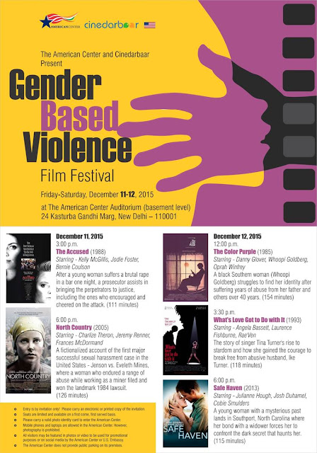 Gender Based Violence Film Festival, American Center, Cinedarbaar, December 2015