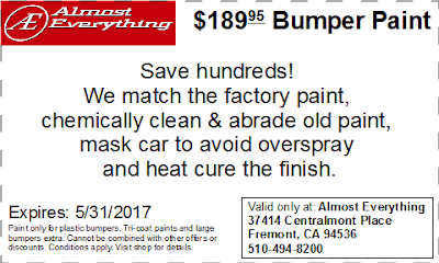 Discount Coupon $189.95 Bumper Paint Sale May 2017