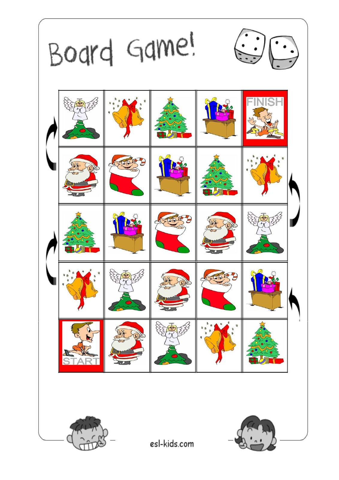 A+ Excellent : Christmas games (a board game and a memory game on the board)