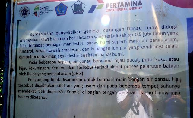 Papan informasi di Danau Linow, Tomohon, Sulawesi Utara +jelajahsuwanto