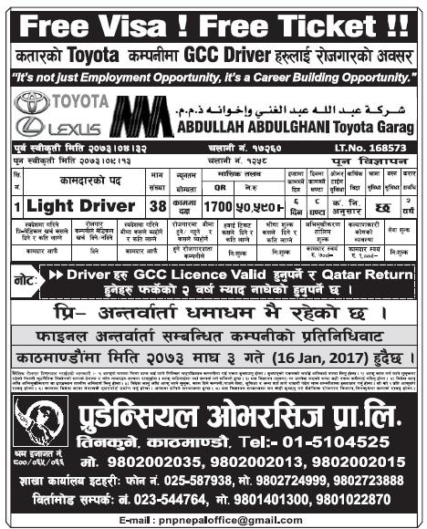 Free VISA Free Ticket Jobs in Qatar for Nepali, Salary Rs 50,590