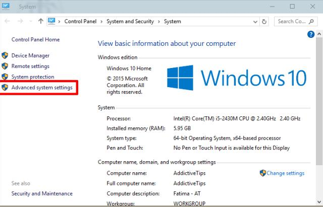 Windows advance system settings
