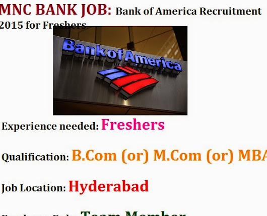 Bank of America Recruitment 2015 for Freshers