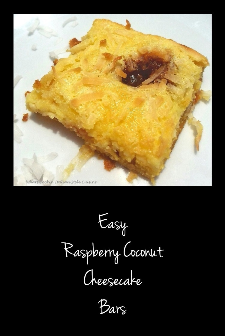 This is an easy bar cookie with a cake mix crust and the filling is a cheesecake batter with raspberry jam swirl and coconut that toasts while baking in the oven