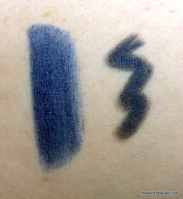 Swatches of Kat Von D Studded Kiss Lipstick in Poe and Tarina Tarantino eyeliner in Cute Robot