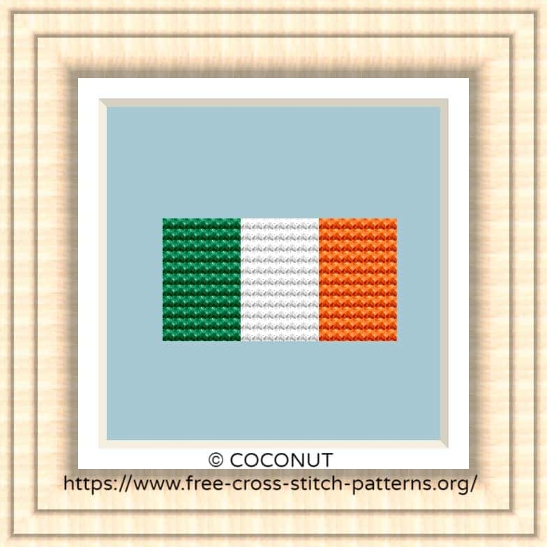 NATIONAL FLAG OF IRELAND CROSS STITCH CHART