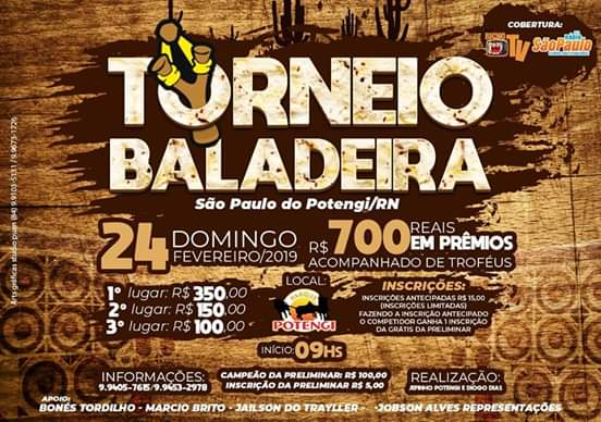 Domingo dia (24) tem Torneio de Baladeira em São Paulo do Potengi