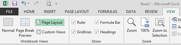 Page Layout Option in View Menu