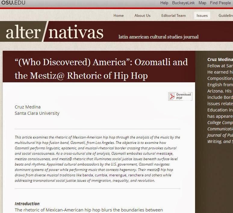 Academia de Cruz Medina: My Article in Alter/nativas Latin
