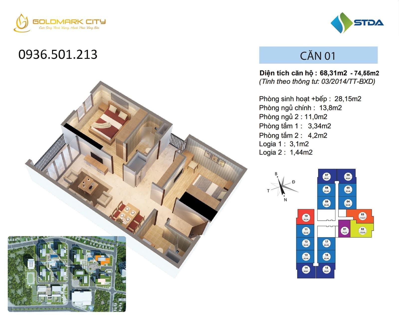 Mặt bằng căn hộ số 01 Ruby 2- Goldmark City 136 Hồ Tùng Mậu