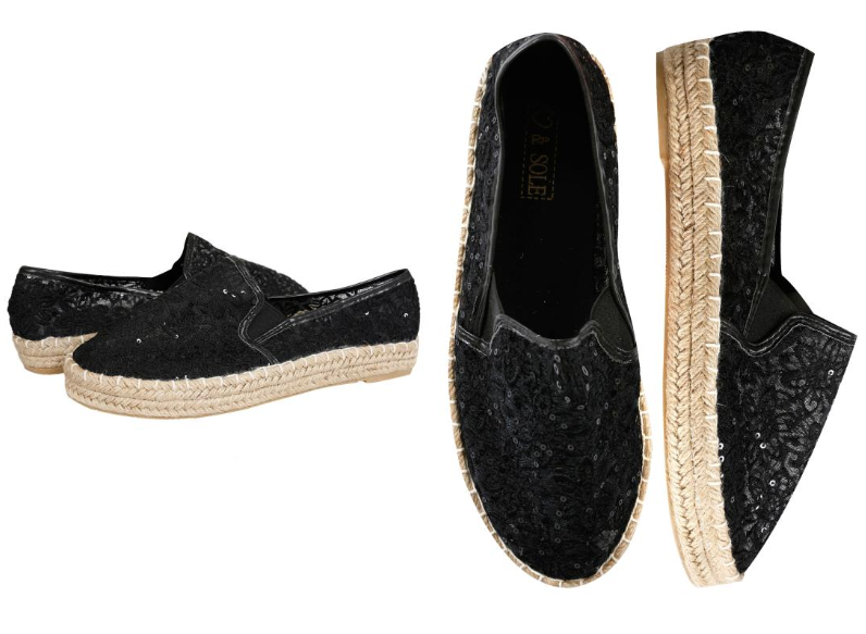 Yours Clothing Wide Fit black espadrilles with sequins