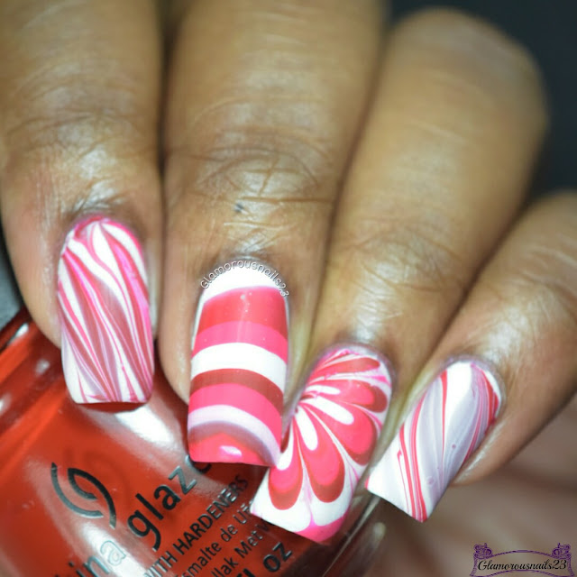 Watermarble Wednesdays: Red, Pink & White
