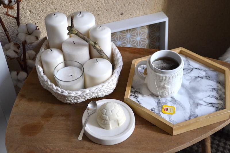 Mug Maisons du monde et Plateau marbre DIY et bougies Ikéa , igloo glacé Picard