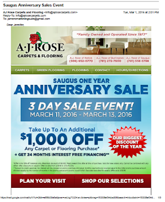 AJ Rose Carpet and Flooring Email Promotion