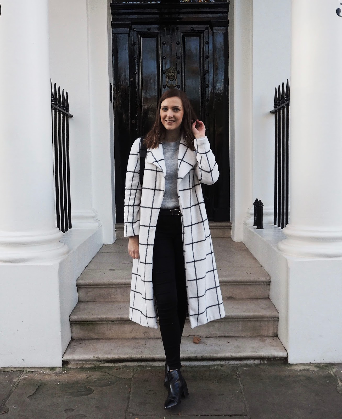 LAUREN ROSE STYLE - STREET STYLE LONDON - MONOCHROME CHECK JACKET - FASHION BLOGGER