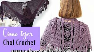 Chal Triangular con Piñas y Varetas / Crochet