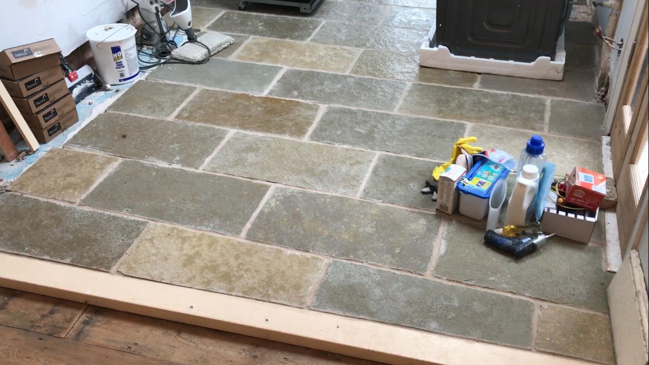Laying A Limestone Floor On A Budget Kezzabeth Diy