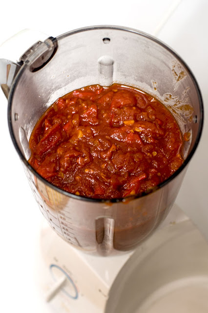 Chilli sauce in blender