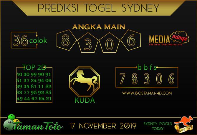Prediksi Togel SYDNEY TAMAN TOTO 17 NOVEMBER 2019