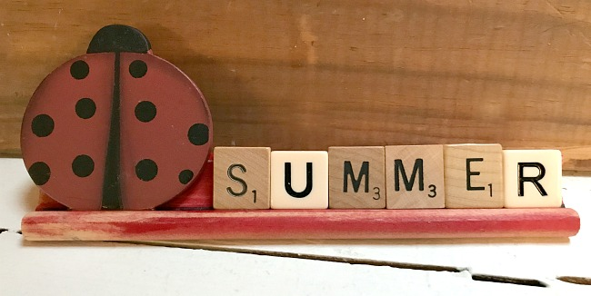 ladybug  summer scrabble sign