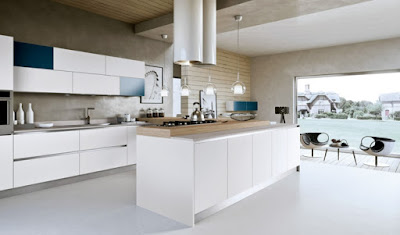 modern u kitchen cabinets in blue and white