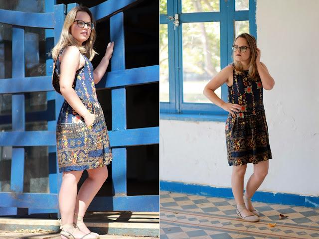 vestido com bolsos laterais curto de verão