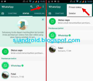 setting status di whatsapp privacy